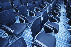 Interior of empty conference hall. With Plastic chairs , close-up Royalty Free Stock Photos
