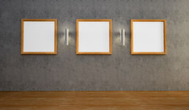 Interior with empty frames on a wall Stock Image