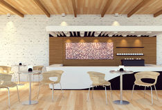 Interior of empty modern coffee shop. 3D rendering Stock Photo