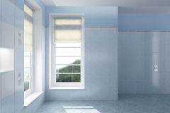 Interior of empty modern home. Interior of empty modern white room with windows overlooking countryside Stock Photography
