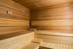 Interior of an empty modern sauna in a hotel or in a spa and wel royalty free stock images