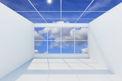 Interior empty new room. 3D visualization of a modern futuristic interior empty new room stock illustration