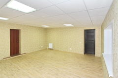 Interior empty office light room with green wallpaper unfurnished in a new building Stock Photography