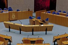 Interior of the empty plenary hall of the Dutch House of Representatives stock photography