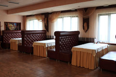 Interior of empty restaurant. In the evening Stock Image