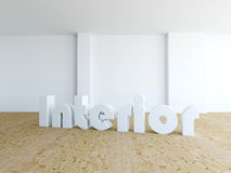Interior - empty room. In 3d with the word interior royalty free stock photography