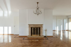 Interior, empty room with fireplace Royalty Free Stock Image