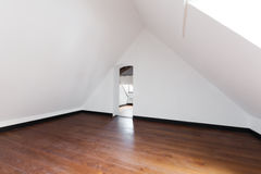 Interior, empty room. Interior, old attic with wooden floor Stock Image