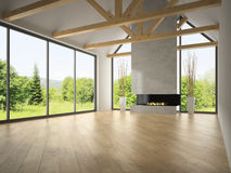 Interior empty room with rafters and fireplace 3D rendering 2 Royalty Free Stock Photo