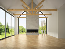 Interior empty room with rafters and fireplace 3D rendering Royalty Free Stock Images