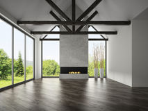Interior empty room with rafters and fireplace 3D rendering 3 Royalty Free Stock Photography
