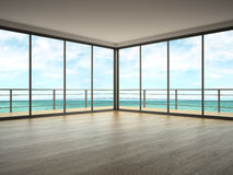 Interior of empty room with sea view 3D rendering. Interior empty room with sea view 3D rendering Stock Photography