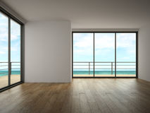 Interior of empty room with sea view 3D rendering Stock Photography
