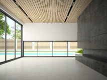 Interior of empty room with swiming pool 3D rendering Royalty Free Stock Photo