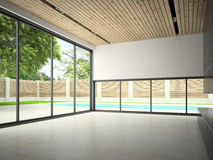 Interior of empty room with swiming pool 3D rendering Royalty Free Stock Photos