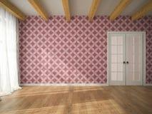Interior of empty room with vinous wallpaper and door 3D renderi Royalty Free Stock Image