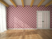 Interior of empty room with vinous wallpaper and door 3D renderi. Ng Royalty Free Stock Photography