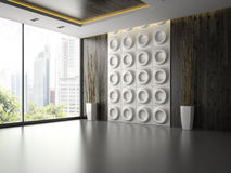 Interior of empty room with wall panel and branches 3D rendering Stock Photography