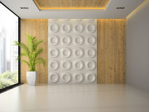 Interior of empty room with wall panel and palm 3D rendering