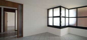 Interior, empty room with windows Royalty Free Stock Photography