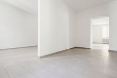Interior, empty rooms. Renovated old house, empty rooms with withe walls, interior Stock Photo