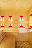 Interior of empty sauna Stock Image