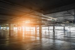 Interior of empty vacant car parking garage in department store Royalty Free Stock Images