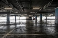 interior of empty vacant car parking garage in department store Stock Photos