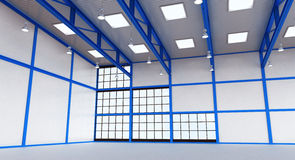 Interior of a empty warehouse with blue colour construction royalty free stock image