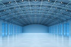 Interior of an empty warehouse building Stock Images