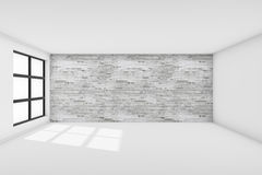 Interior empty white - brick walls room with window Stock Photography