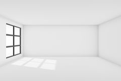 Interior empty white walls room with window Stock Image