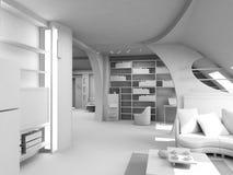 Interior en blanco moderno Imágenes de archivo libres de regalías