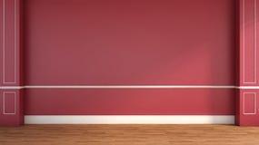 Interior en estilo clásico Rojo ilustración 3D Fotografía de archivo libre de regalías