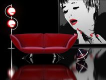 Interior en negro y rojo Fotos de archivo libres de regalías