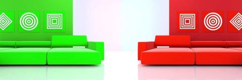 Interior en tonos rojos y verdes Foto de archivo libre de regalías