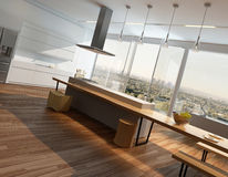 Interior ensolarado moderno da cozinha com assoalho de madeira Imagem de Stock