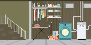 Interior equipment of a basement. Interior equipment of a basement, washer, shelf with tools, basket with dirty clothes, boxes ,Vector illustration royalty free illustration