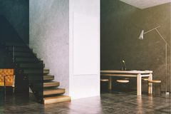 Interior, escadas e cartaz da sala de jantar de Gary tonificados Imagem de Stock Royalty Free