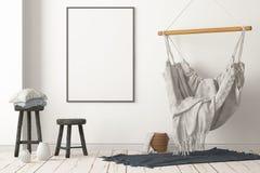 Interior escandinavo de la maqueta con una silla colgante representaci?n 3d fotografía de archivo libre de regalías