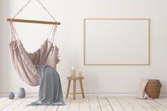 Interior escandinavo de la maqueta con una silla colgante representaci?n 3d foto de archivo