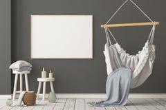 Interior escandinavo de la maqueta con una silla colgante representaci?n 3d fotografía de archivo