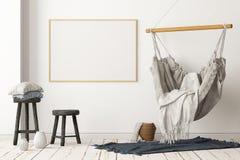 Interior escandinavo de la maqueta con una silla colgante representaci?n 3d imagenes de archivo
