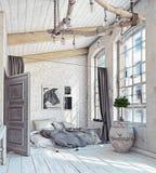 Interior escandinavo del dormitorio Imagen de archivo