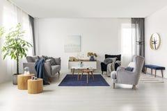 Interior escandinavo espaçoso cinzento e dos azuis marinhos da sala de visitas fotografia de stock