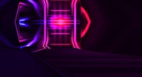 Interior escuro com luz de néon Sala vazia abstrata, lâmpadas de néon ilustração stock