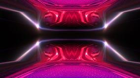 Interior escuro com luz de néon Sala vazia abstrata, lâmpadas de néon ilustração royalty free