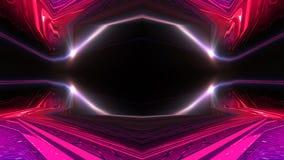 Interior escuro com luz de néon Sala vazia abstrata, lâmpadas de néon ilustração do vetor