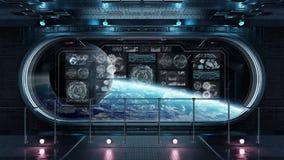 Interior escuro da nave espacial com as telas digitais 3D do painel de controle com referência a ilustração do vetor