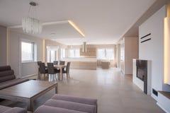 Interior espaçosa com grupo do sofá Imagens de Stock